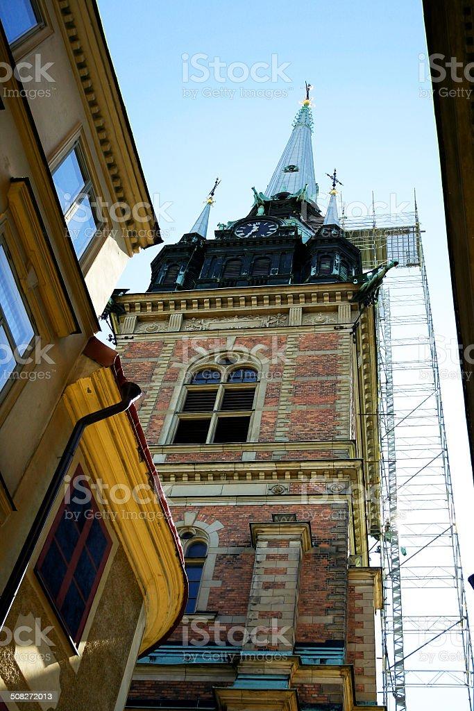 Belfry of church Tyska kyrkan stock photo