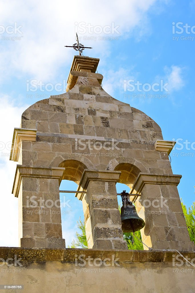 Belfry of Panagía Skopiótissa Church in Zakynthos island, Gree stock photo
