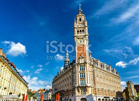 Belfry of the Chamber of Commerce. A historic building in Lille, the Nord department of France