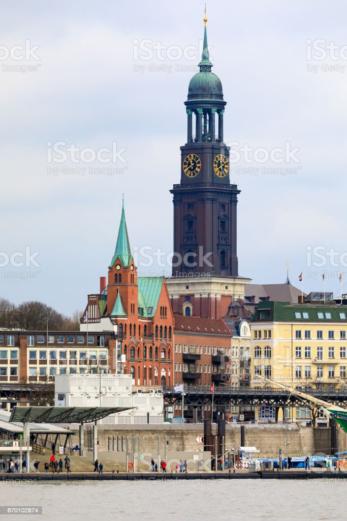 Belfry of the Church of St. Michael in Hamburg, Germany stock photo