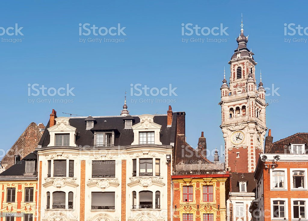 Belfry on main square of Lille in France at day stock photo