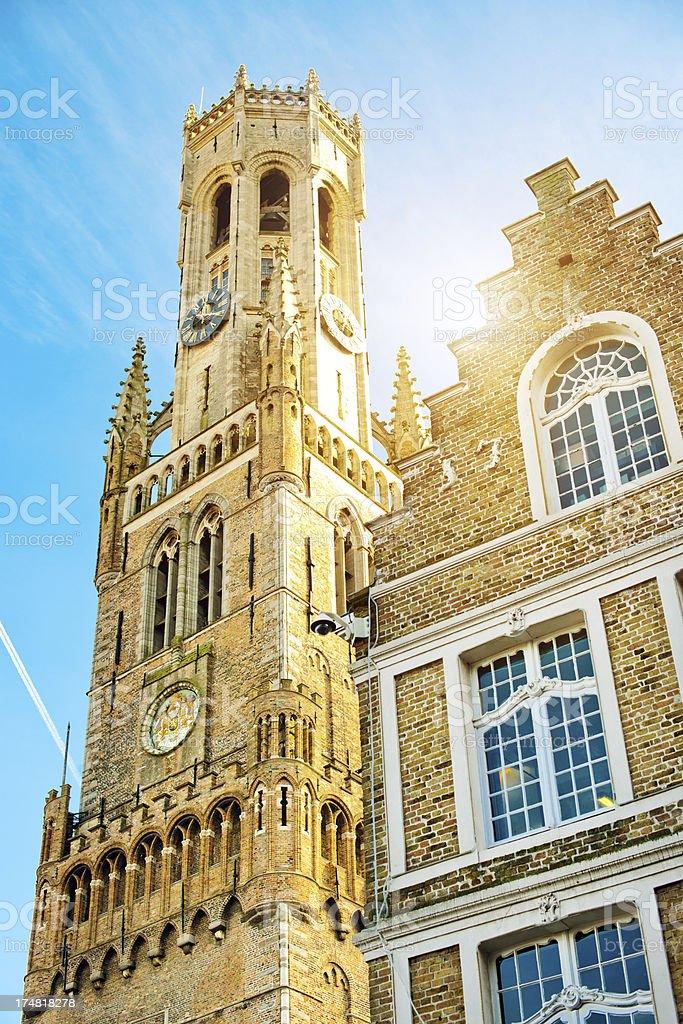 Belfry Tower, Bruges, Belgium stock photo