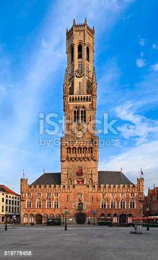 Front view of Belfry Tower, Bruges, Belgium