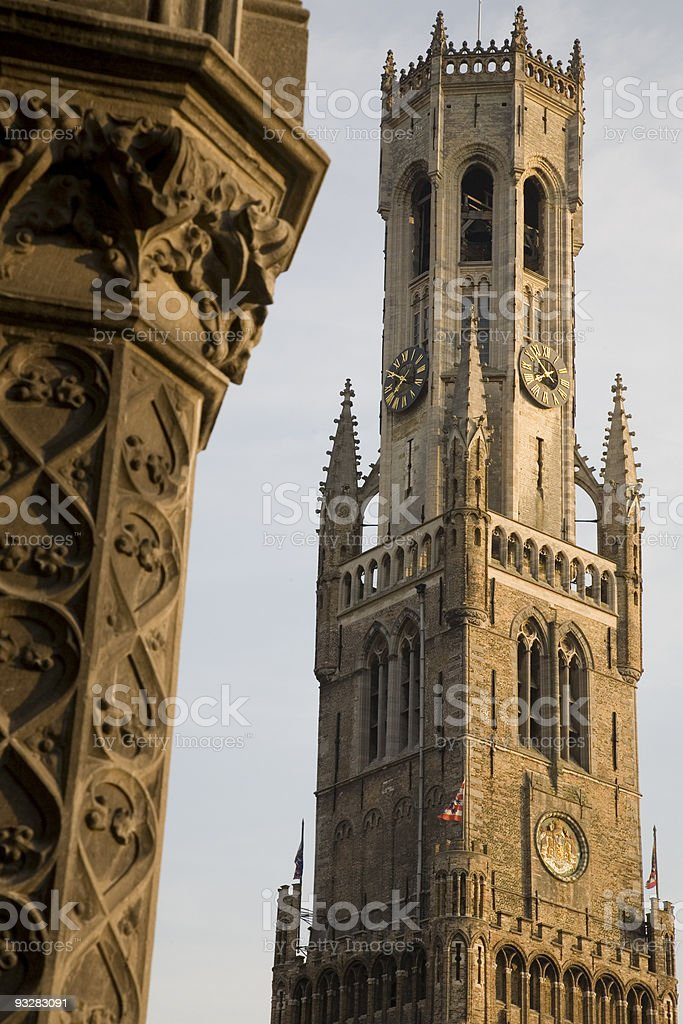 Belfry Tower in Bruges stock photo