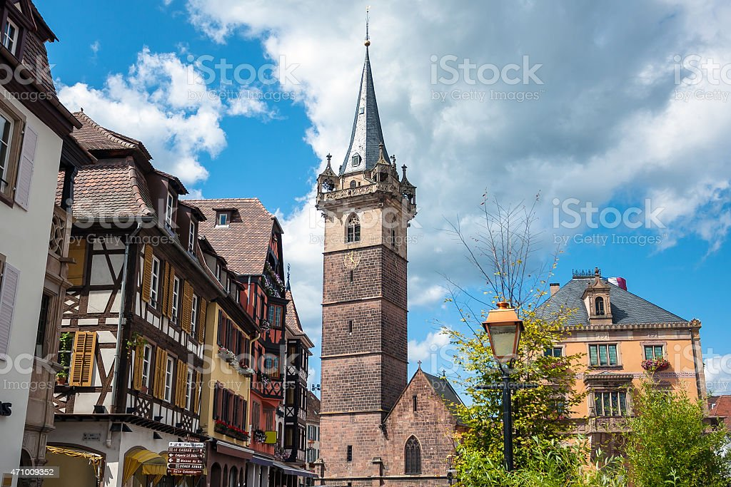 Belfry tower (Kapellturm) in Obernai town center stock photo