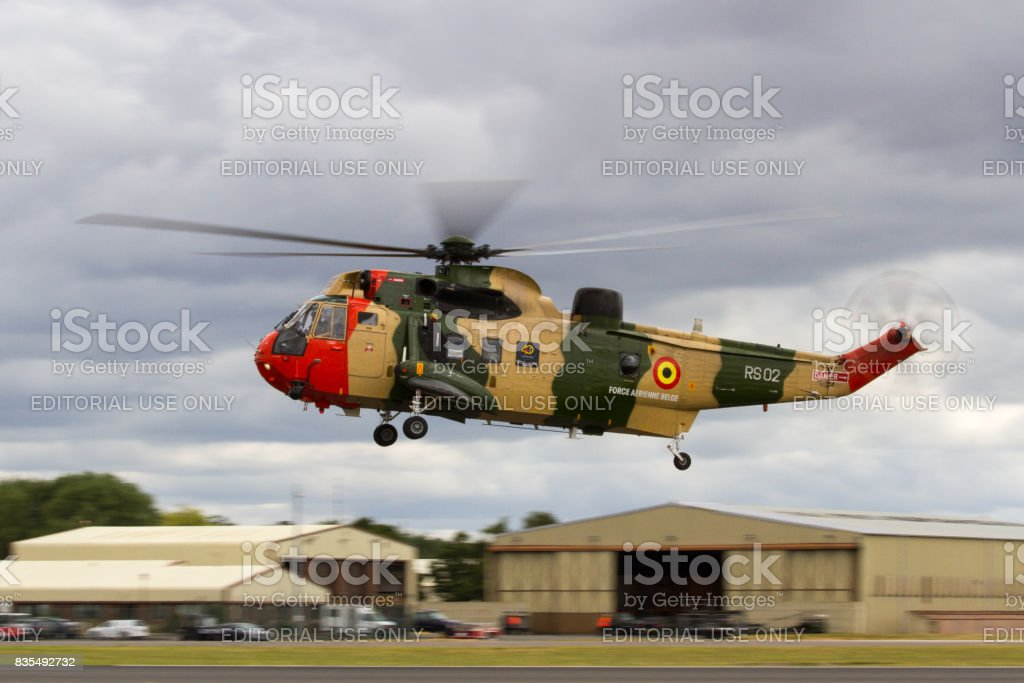 Belgian Air Force Sea King Helicopter lands at The Royal International Air Tattoo stock photo