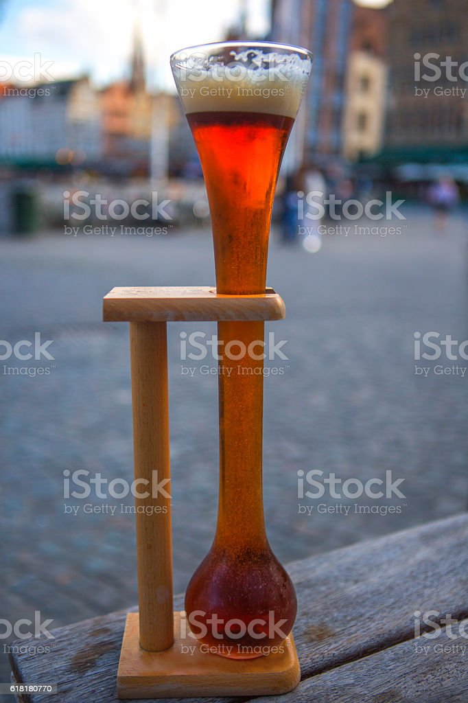 belgian ale beer in traditional cold glass at brugge belgium stock photo