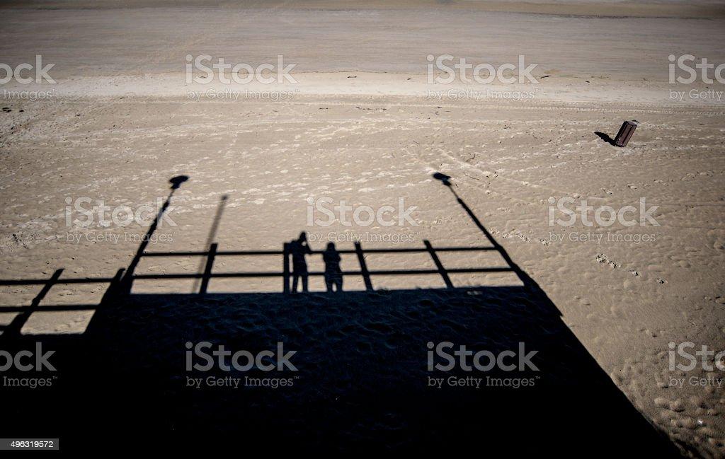 Belgian Beach Shadow Play stock photo