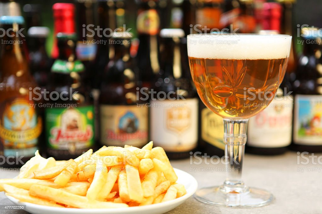 Belgian Beer and Fries stock photo