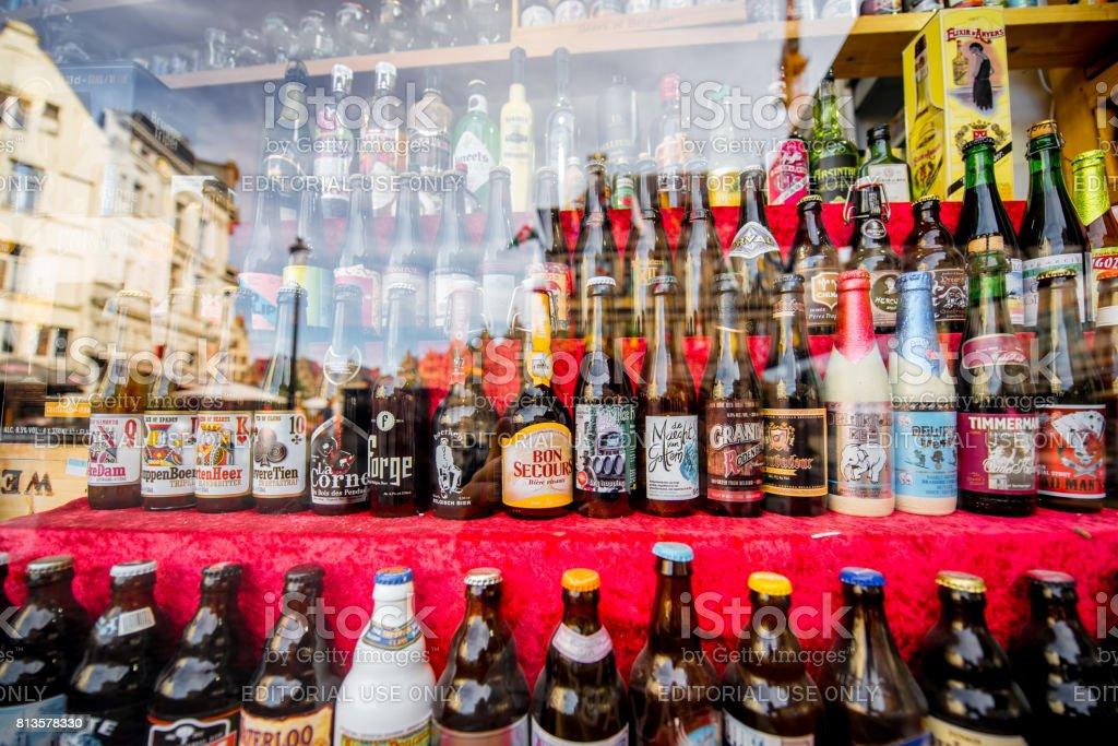 Belgian beer bottles stock photo