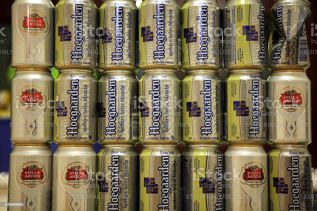 Belgian beer Hoegaarden and Stella Artois stock photo