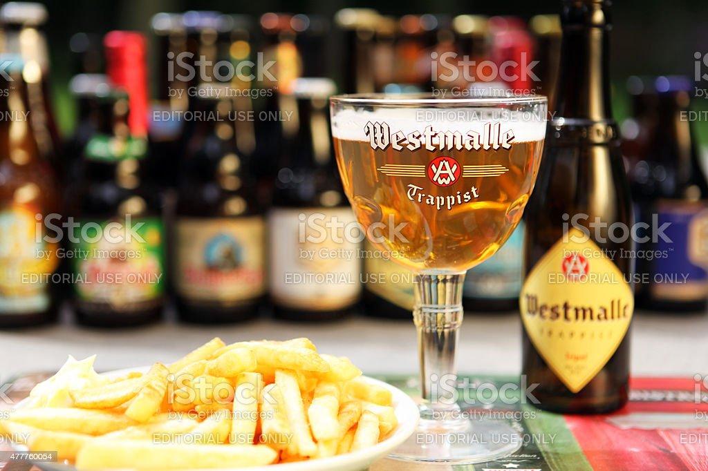 Belgian Beer Westmalle Trappist Tripel and Belgian Fries stock photo