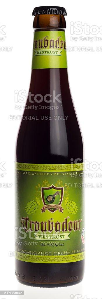 Belgian black IPA beer Troubadour Westkust isolated on white stock photo