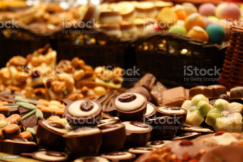 Belgian chocolates on a market stock photo