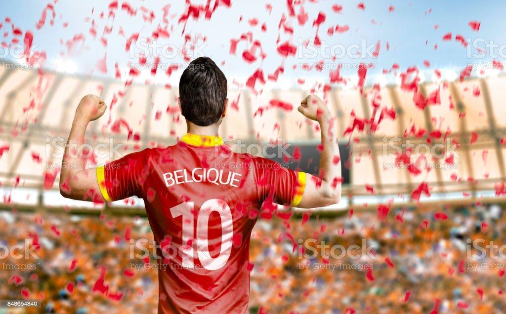Belgische fan / speler vieren foto