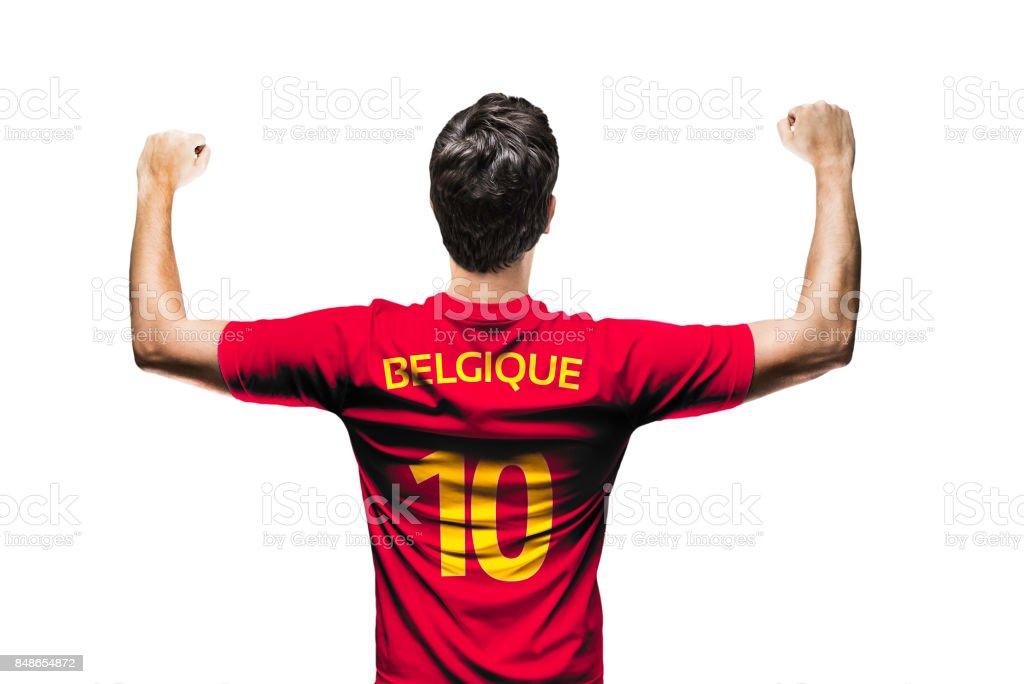 Ventilador belga / jugador celebrando - foto de stock