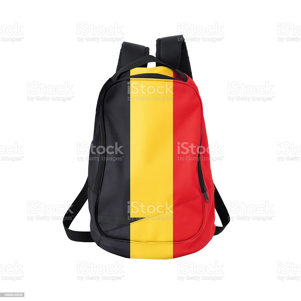 Belgian flag backpack isolated on white w/ path stock photo