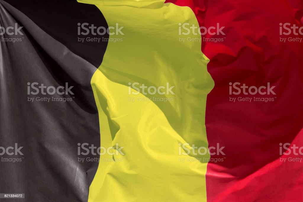 belgian flag floating in the wind exact colors stock photo