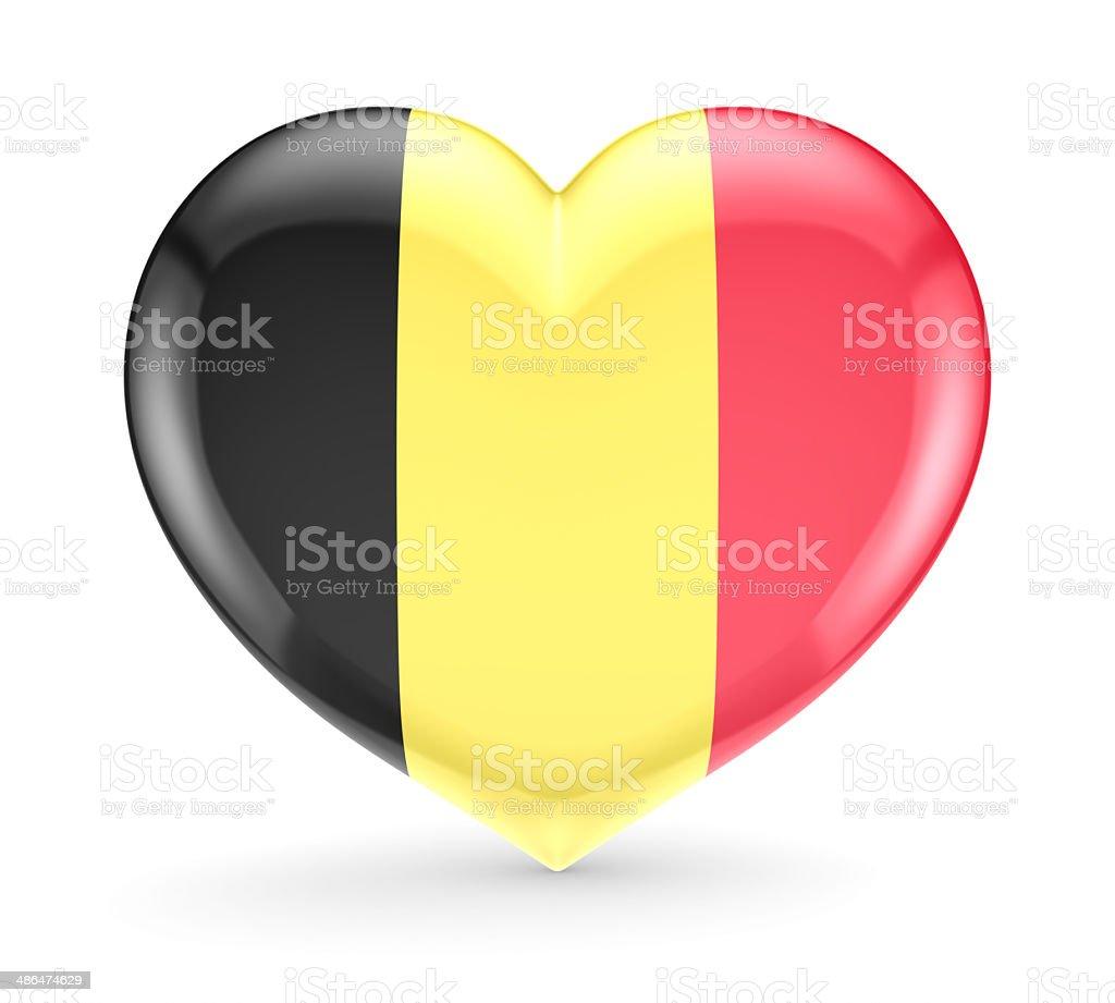 Belgian flag on a heart symbol. stock photo