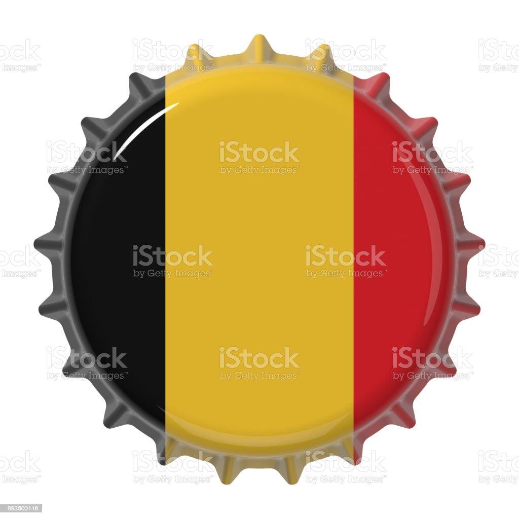 Belgian flag on bottle cap. 3D rendering stock photo