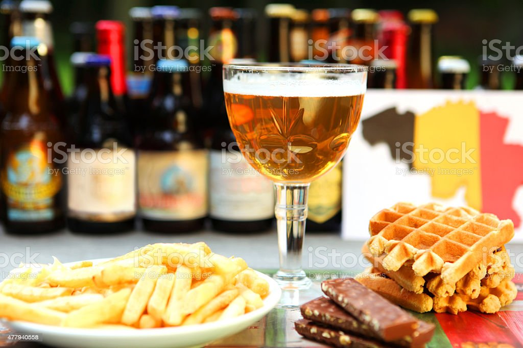 Belgian Food and Drinks: Beer, Waffles, Chocloate, Fries​​​ foto
