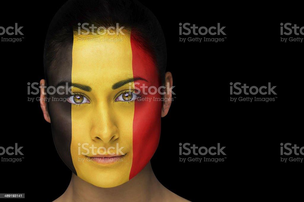 Belgian football fan in face paint stock photo