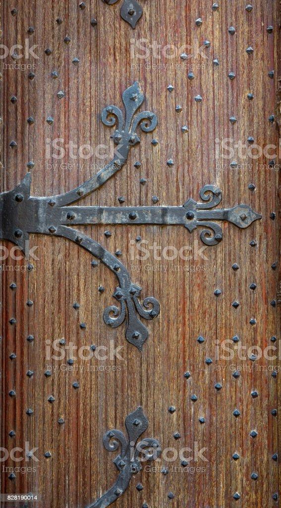 Belgian forged decorative door brown stock photo