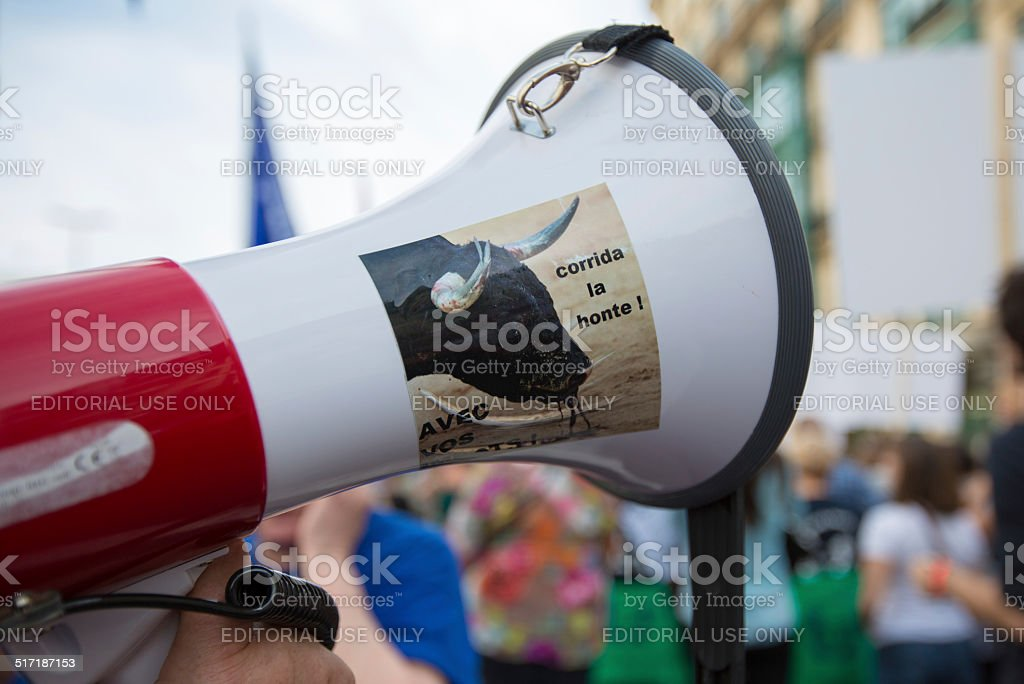 Belgian Gaia activists protest on the streets of Brussels stock photo