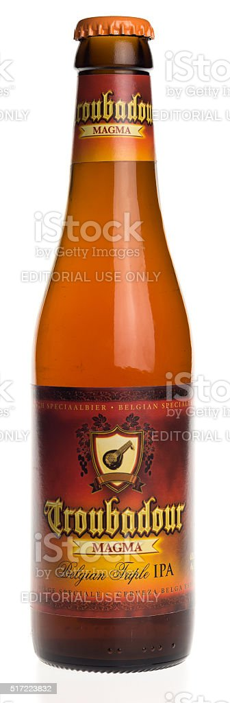 Belgian indian pale ale beer Troubadour Magma isolated on white stock photo