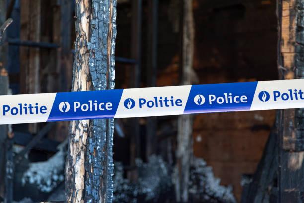 Belgian police tape stock photo
