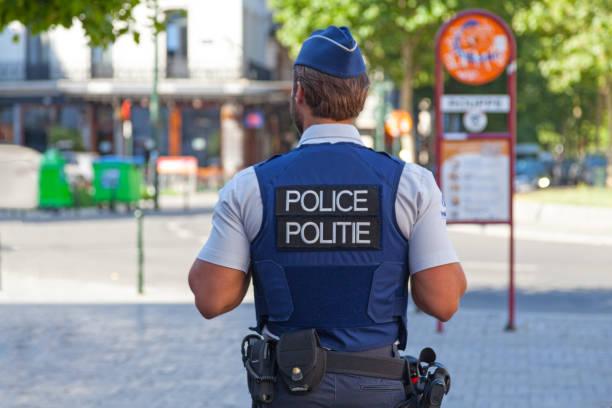 Belgian policeman in bulletproof vest stock photo