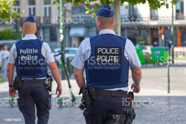 Belgian Policemen In Bulletproof Vests Stock Photo - Download Image Now