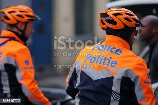istock Belgian policemen on bicycles 893619772