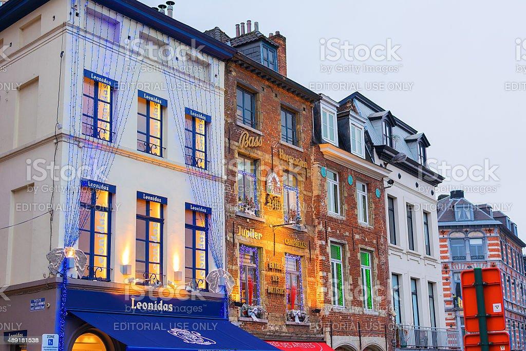 Belgian shops at Christmas stock photo