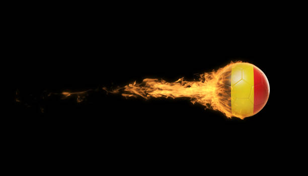 Belgian Soccer Ball In Flames Over Black Background stock photo