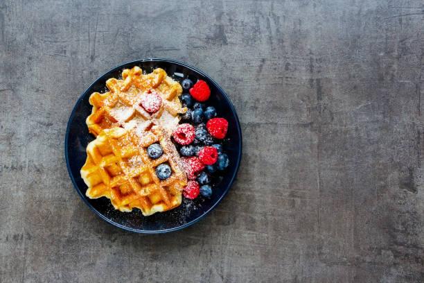 Belgian soft waffles stock photo