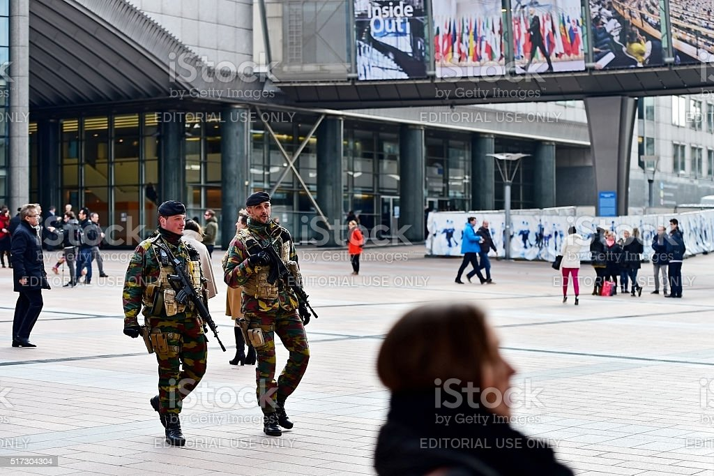 Belgian soldiers guarding European Parliament stock photo