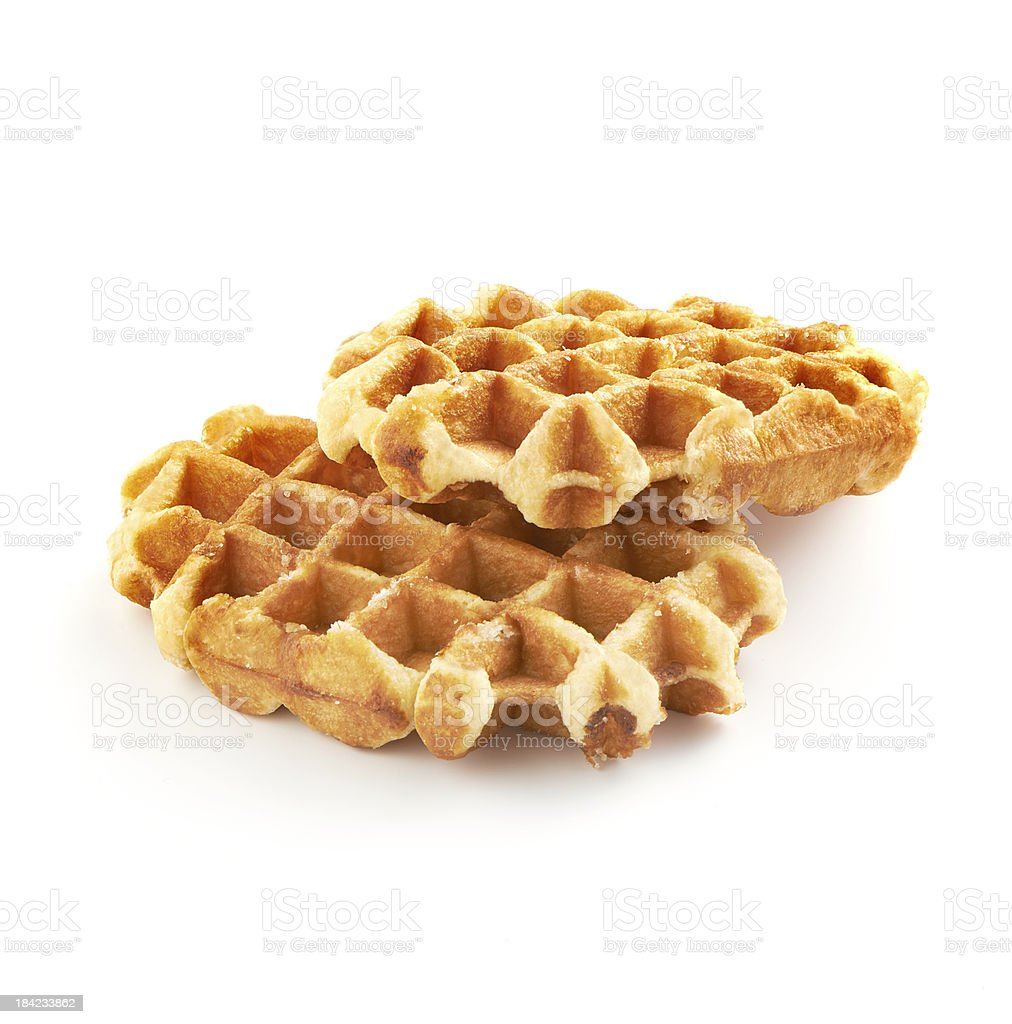 belgian sugar waffles on white background stock photo