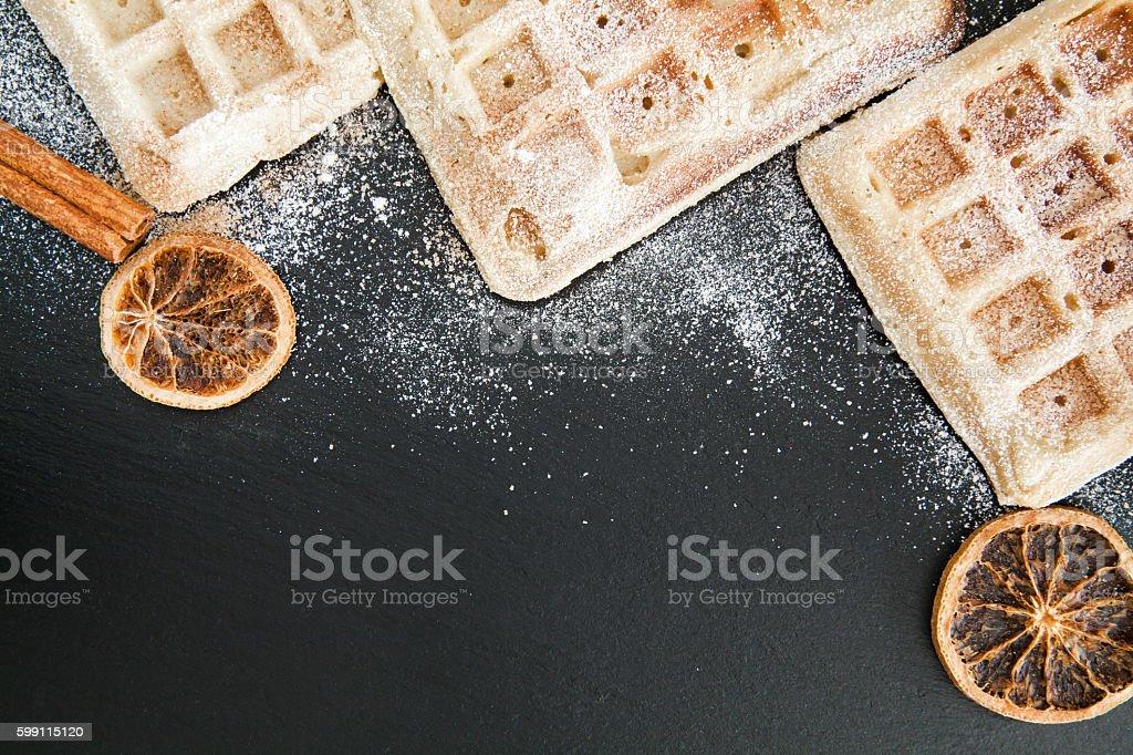 Belgian waffle background stock photo