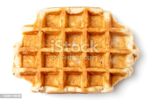 Piece of Belgian Waffle Cake from above on white background