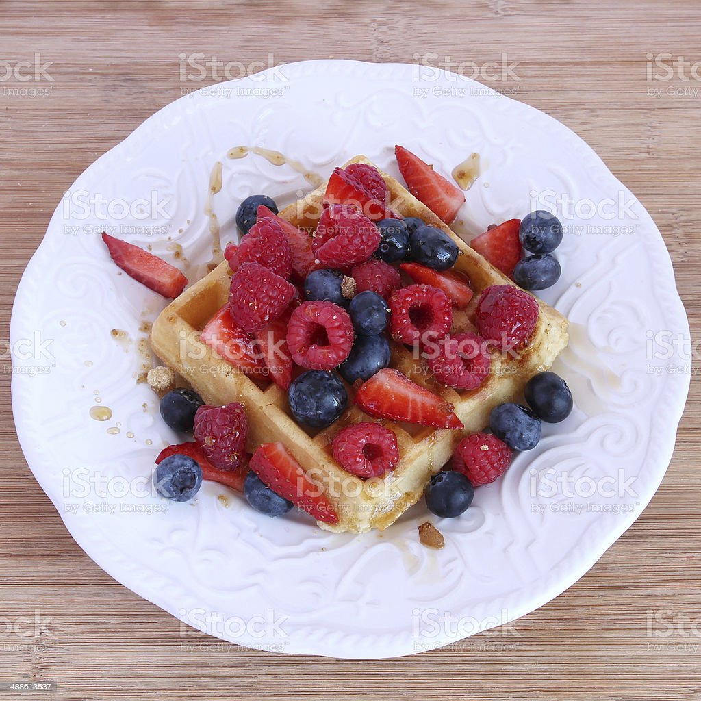 Belgian waffle stock photo