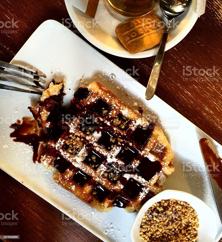 Belgian waffle with chocolate stock photo