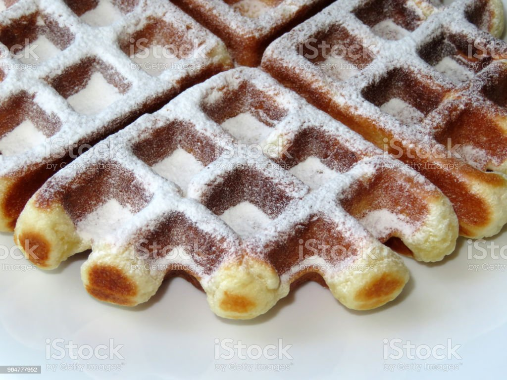 Belgian waffles in a white plate royalty-free stock photo