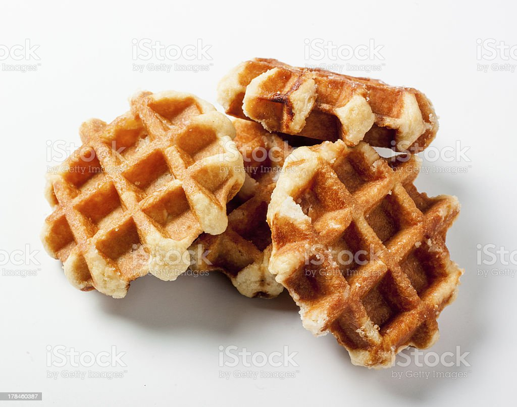 Belgian waffles on white background stock photo