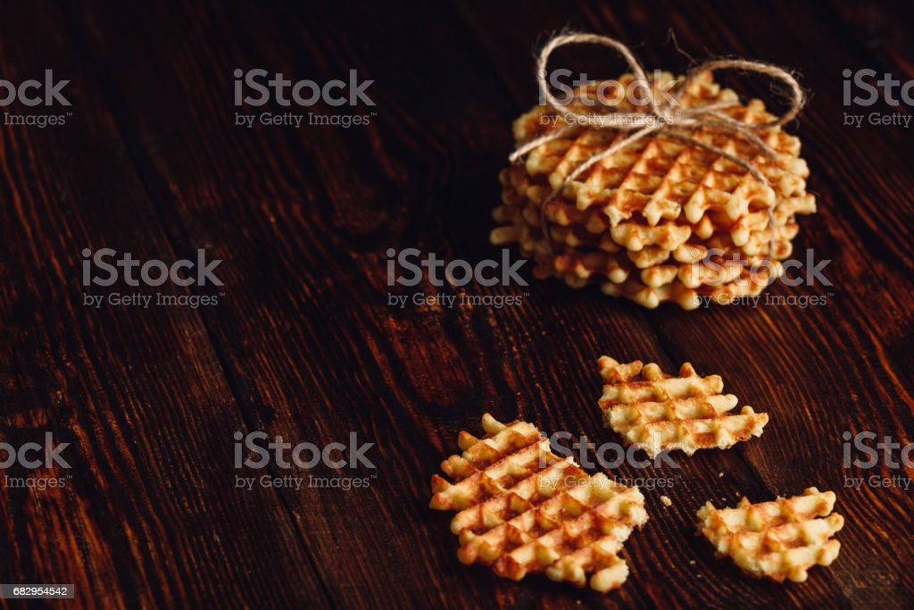 Belgian Waffles on Wooden Surface. royalty-free stock photo