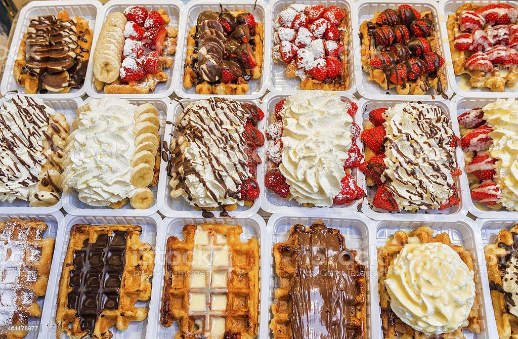Belgian waffles stock photo