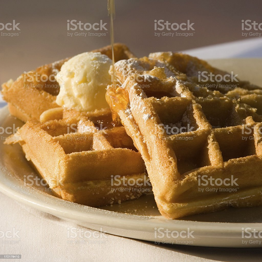 Belgian Waffles with Butter and Syrup stock photo