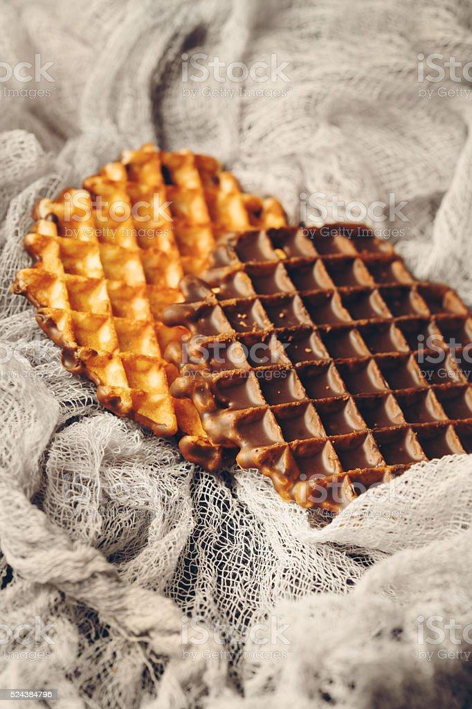 Gaufres belges avec une ganache au chocolat - Photo