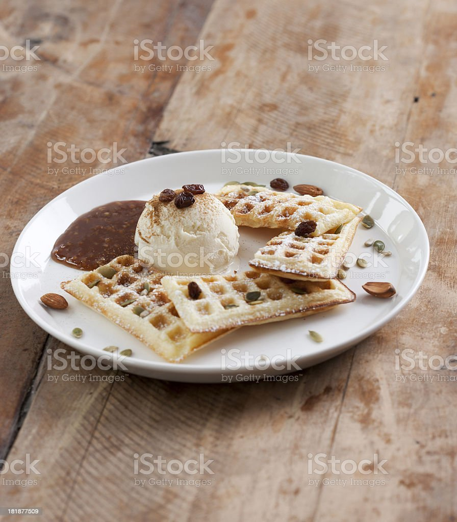 Belgian Waffles with ice cream and Syrup royalty-free stock photo