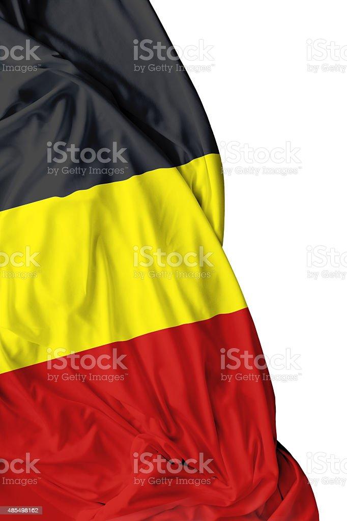 Bandera belga saludando con la mano sobre fondo blanco - foto de stock